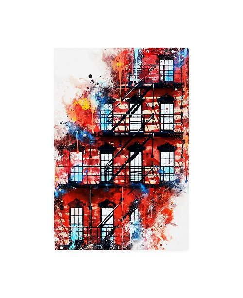 "Trademark Global Philippe Hugonnard NYC Watercolor Collection - US Facade Canvas Art - 36.5"" x 48"""