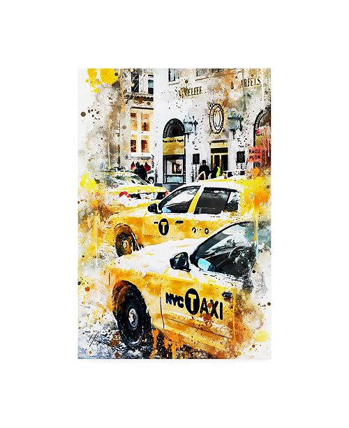 "Trademark Global Philippe Hugonnard NYC Watercolor Collection - New York Taxis Canvas Art - 36.5"" x 48"""