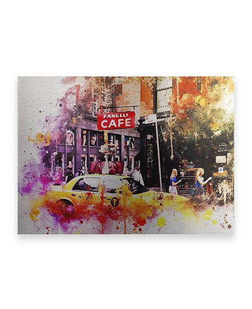 "Trademark Global Philippe Hugonnard NYC Watercolor Collection - in Soho Floating Brushed Aluminum Art - 21"" x 25"""