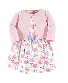 Organic Cotton Dress and Cardigan Set, Pink Rose, 0-3 Months