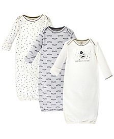 Organic Cotton Gown, 3 Pack, Mr. Moon