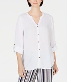 JM Collection Crepon Button Front Blouse, Created for Macy's