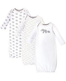 Organic Cotton Gown, 3 Pack, Marching Elephant