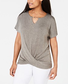 JM Collection Petite Twist-Front Top, Created for Macy's