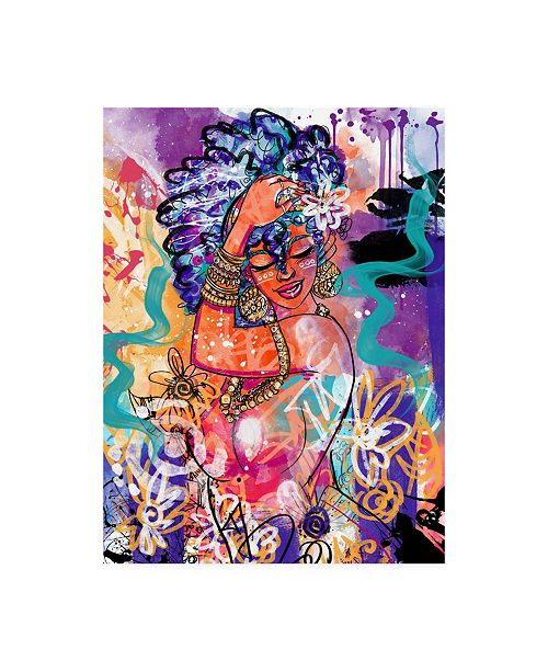 "Trademark Global Justin Copelan Gold Flowers Canvas Art - 19.5"" x 26"""