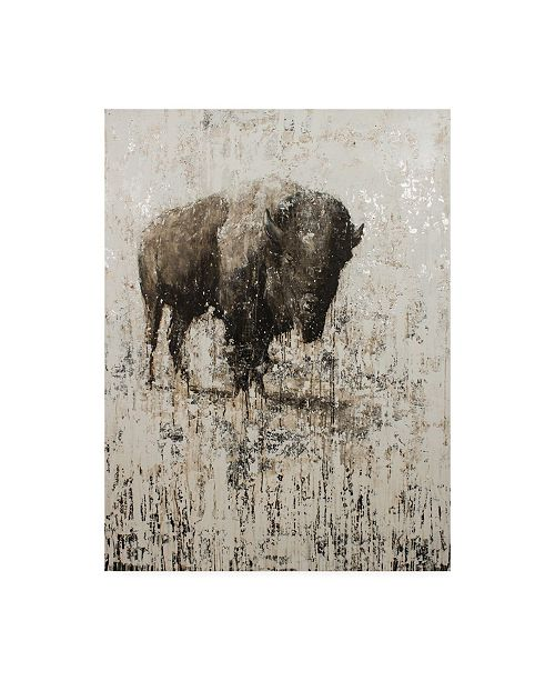 "Trademark Global Matt Flin Lone Buffalo Distressed Canvas Art - 36.5"" x 48"""