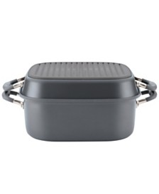 "Anolon Advanced Home Hard-Anodized Nonstick Two Step Meal Set, 7-Qt. Roaster and an 11"" Deep Square Grill Pan"