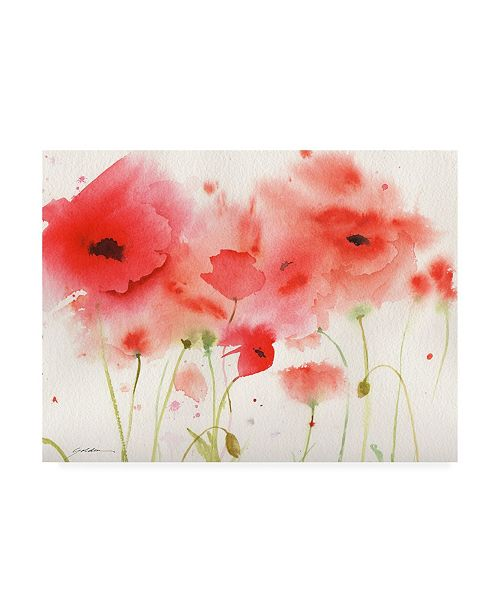 """Trademark Global Sheila Golde Red Poppies Over White Canvas Art - 36.5"""" x 48"""""""