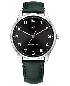 Men's Green Leather Strap Watch 44mm