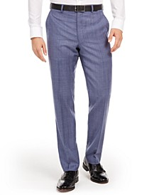 Men's Classic-Fit UltraFlex Stretch Light Blue Check Suit Separate Pants