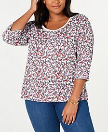 Plus Size Printed Cotton T-Shirt