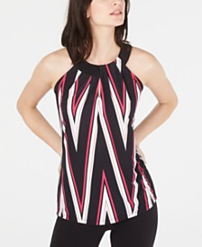 I.N.C. Petite Printed Twist-Neck Halter Top, Created for Macy's