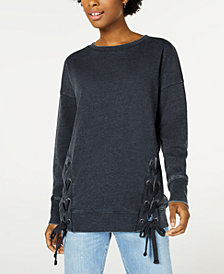 Hippie Rose Lace-Up Tunic Sweatshirt