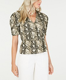 Snake Print Puff-Sleeve Top