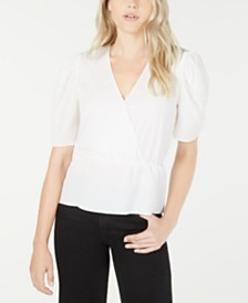 LEYDEN Surplice-Neck Puff-Sleeve Top