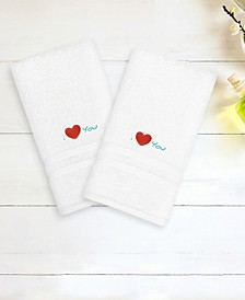 "Denzi 2-Pack of Hand Towels Embroidered with ""I Love You"""