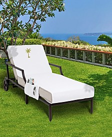 Standard Size Chaise Lounge Cover with Side Pockets Embroidered with Palm Tree