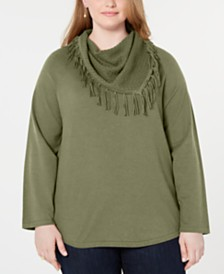 Style & Co Plus Size Fringed Cowl-Neck Sweater, Created for Macy's