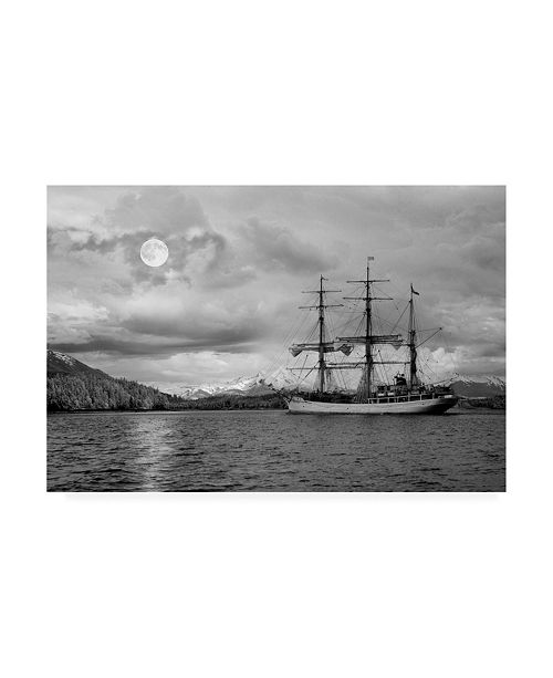 "Trademark Global Monte Nagler Ghost Ship and Moonlight Juno Alaska Canvas Art - 37"" x 49"""