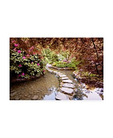 "Monte Nagler Stepping Stones at Butchart Gardens Victoria B.C. Canvas Art - 37"" x 49"""