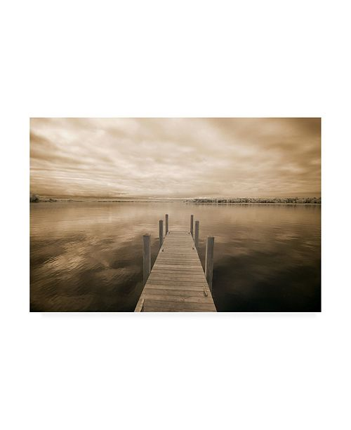 "Trademark Global Monte Nagler Dock at Crooked Lake Conway Michigan Canvas Art - 20"" x 25"""