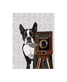 "Fab Funky Boston Terrier Photographer Canvas Art - 15.5"" x 21"""