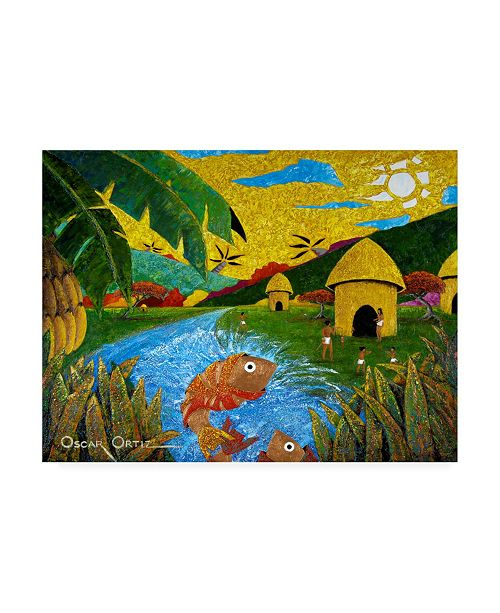 "Trademark Global Oscar Ortiz Village Native Huts Canvas Art - 27"" x 33.5"""