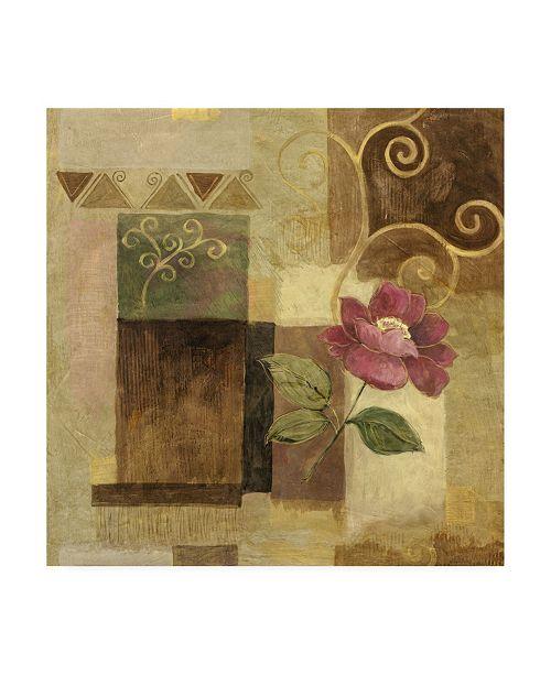 "Trademark Global Pablo Esteban Pink Flower on Brown Canvas Art - 15.5"" x 21"""