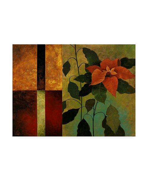 "Trademark Global Pablo Esteban Red Flower Over Dark Panels 1 Canvas Art - 27"" x 33.5"""