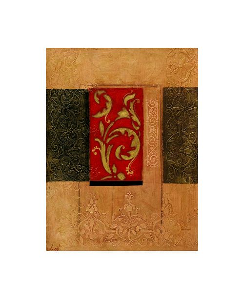 "Trademark Global Pablo Esteban Red Stamp Orange 1 Canvas Art - 36.5"" x 48"""