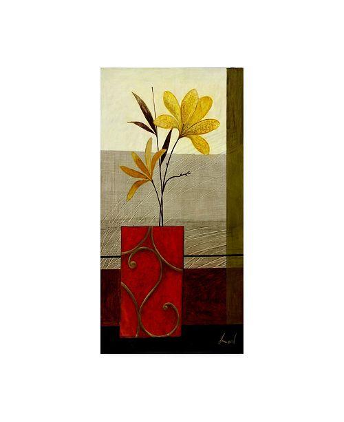 "Trademark Global Pablo Esteban Red Ornate Vase Yellow 2 Canvas Art - 19.5"" x 26"""
