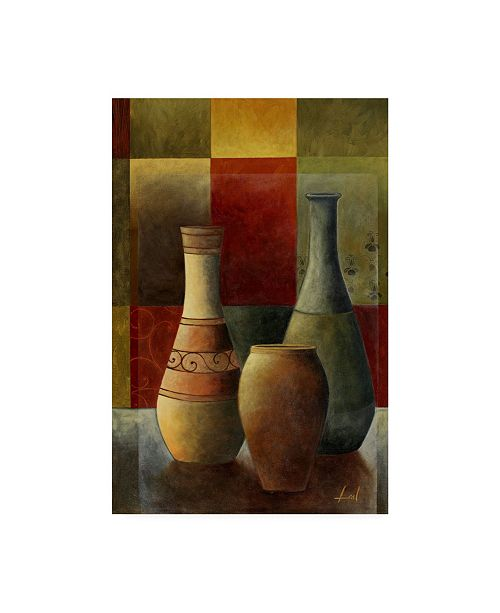 "Trademark Global Pablo Esteban Vases Over Geometry 2 Canvas Art - 36.5"" x 48"""