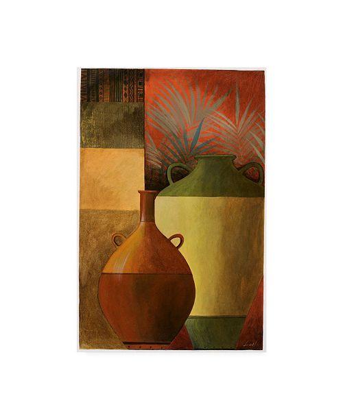 "Trademark Global Pablo Esteban Vase Over Geometric Background 1 Canvas Art - 27"" x 33.5"""