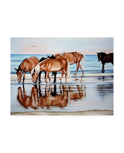 "Trademark Global Patrick Sullivan Horses on Beach Canvas Art - 27"" x 33.5"""