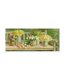 """Danhui Nai Spring Garden Bench Canvas Art - 27"""" x 33.5"""""""