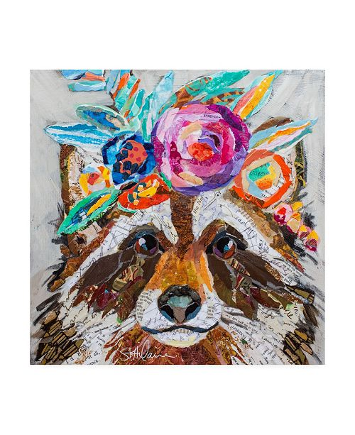 "Trademark Global Elizabeth St. Hilaire Raccoon Floral Canvas Art - 15.5"" x 21"""