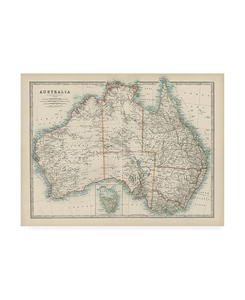"Trademark Global Johnston Johnstons Map of Australia Canvas Art - 27"" x 33.5"""