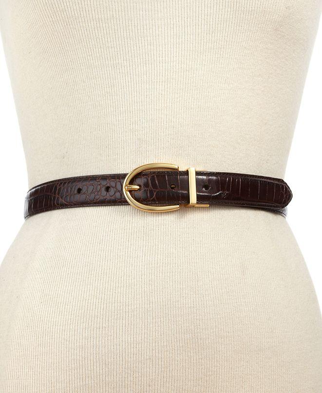 Lauren Ralph Lauren Croc-Embossed Belt