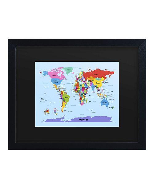 """Trademark Global Michael Tompsett Childrens World Map Matted Framed Art - 15"""" x 20"""""""