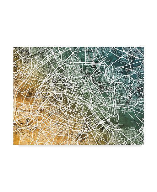 "Trademark Global Michael Tompsett Paris France City Street Map Teal Orange Canvas Art - 37"" x 49"""