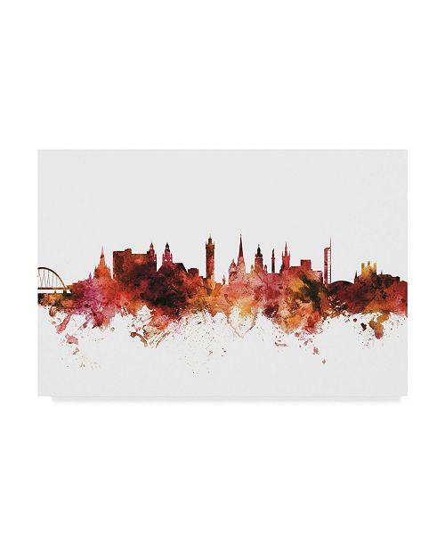 "Trademark Global Michael Tompsett Glasgow Scotland Skyline Red II Canvas Art - 37"" x 49"""