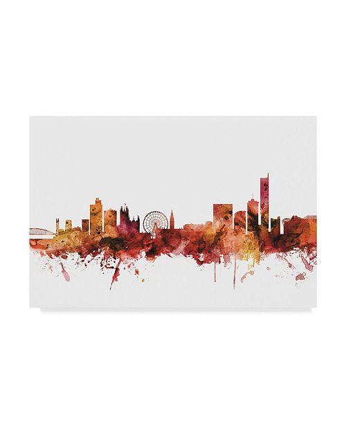 "Trademark Global Michael Tompsett Manchester England Skyline Red II Canvas Art - 20"" x 25"""