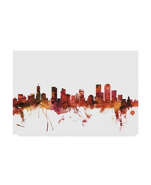 "Trademark Global Michael Tompsett Denver Colorado Skyline Red Canvas Art - 20"" x 25"""