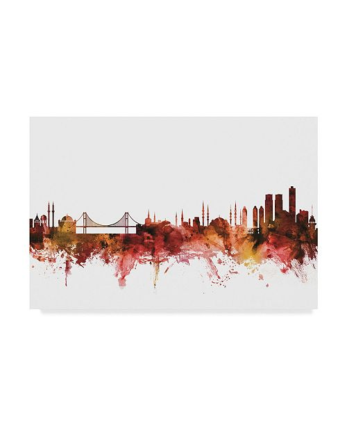 "Trademark Global Michael Tompsett Istanbul Turkey Skyline Red Canvas Art - 20"" x 25"""