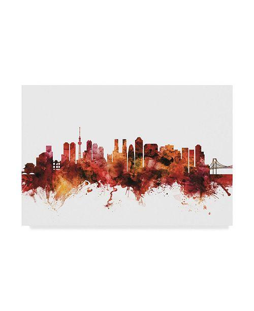"Trademark Global Michael Tompsett Tokyo Japan Skyline Red Canvas Art - 15"" x 20"""