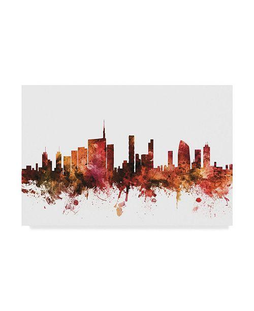 "Trademark Global Michael Tompsett Milan Italy Skyline Red Canvas Art - 15"" x 20"""