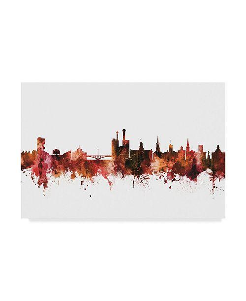 "Trademark Global Michael Tompsett Iowa City Iowa Skyline Red Canvas Art - 15"" x 20"""