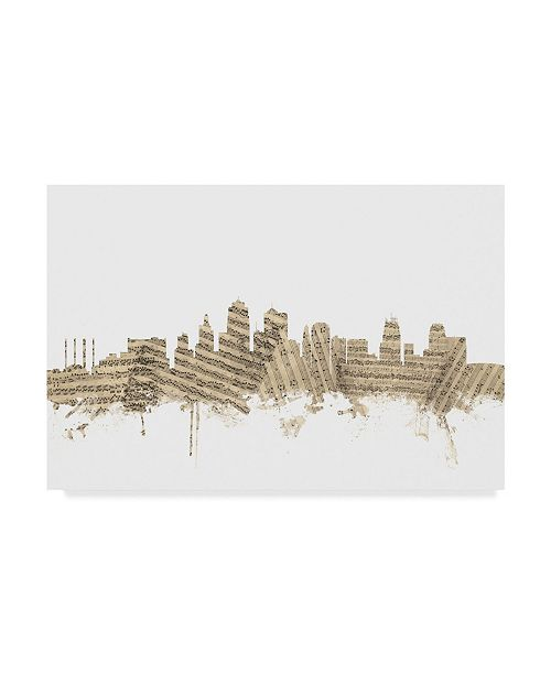 "Trademark Global Michael Tompsett Kansas City Missouri Skyline Sheet Music II Canvas Art - 15"" x 20"""