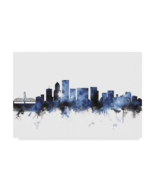"Trademark Global Michael Tompsett Portland Oregon Skyline III Canvas Art - 15"" x 20"""