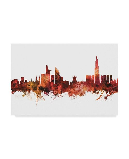 "Trademark Global Michael Tompsett Ho Chi Minh City Vietnam Skyline Red Canvas Art - 15"" x 20"""